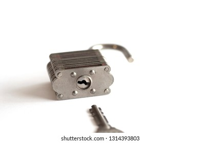 Isolated Lock and Key on a White Background