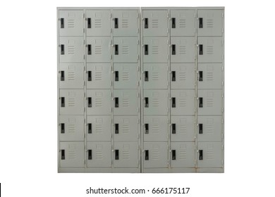 Isolated lockers on white background with clipping path, Locker in old and rusty condition for keep shoes and helmet outside construction building.
