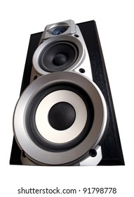 isolated loudspeaker - acoustic electronic equipment on white