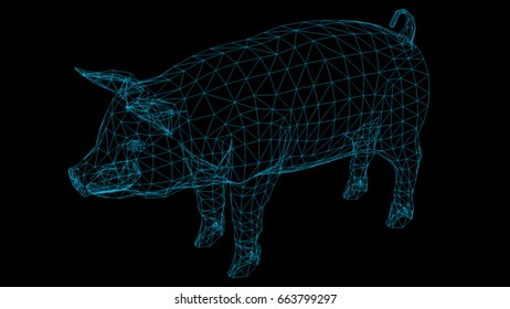 Isolated Low Poly graphic design of  pig -3d rendering