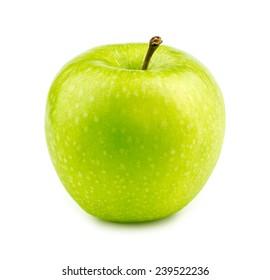 Isolated macro of a green granny smith apple