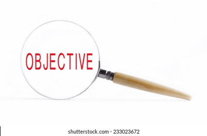 "Isolated Magnifying glass on white background searching missing puzzle peace ""objective"""