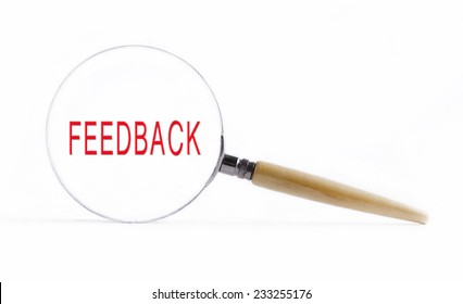 "Isolated Magnifying glass on white background searching missing puzzle peace ""feedback"""
