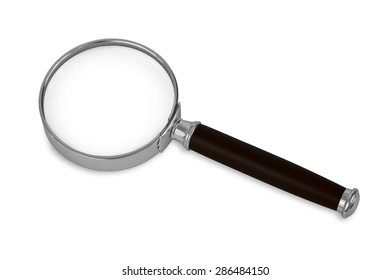 Isolated magnifying glass on white background. Magnifying glass has silver rim and black handle.