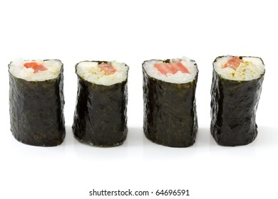 Isolated makizushi in a row with white background made from mozzarella and tomatoes as example for crossover kitchen.