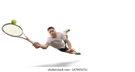 Isolated Male athlete plays tennis on white background