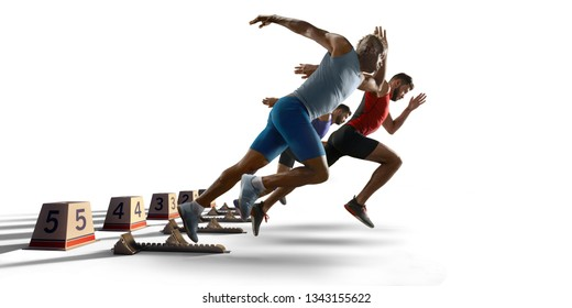 Isolated Male athletes sprinting. Men in sport clothes on starting line prepares to run on white background