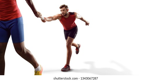 Isolated Male athletes sprinting. Runner passes the sport baton on white background