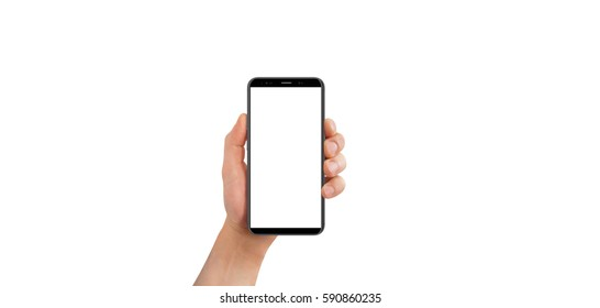 Isolated male hand holding black modern phone, on white background