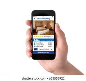 Isolated male hand holding black phone with app hotel booking on screen