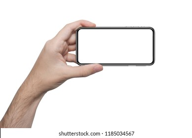 isolated male hand holding the phone with isolated screen similar to iphon x and xs