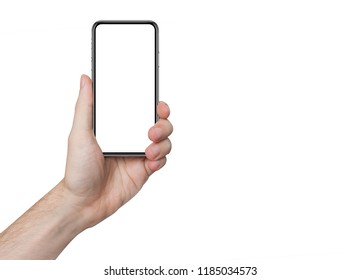 isolated male hand holding the phone similar to iphon with isolated screen