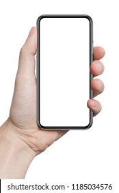 isolated male hand holding the phone similar to iphon with isolated display