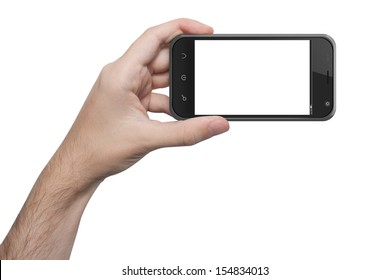 isolated male hand holding the phone similar to iphone with isolated screen