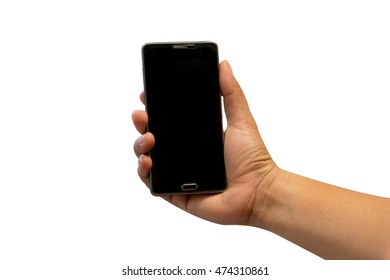 Isolated male hand holding a phone with black screen