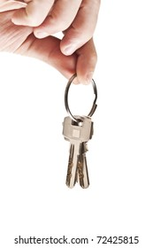 Isolated male hand holding set of keys