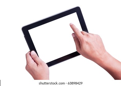 Isolated a male hand holding a touchpad pc