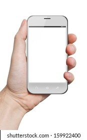 isolated male hand holding a white phone similar to iphone tablet touch computer gadget with isolated display