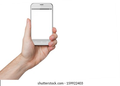 isolated male hand holding a white phone similar to iphone with isolated screen