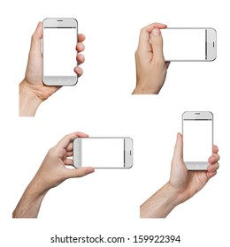 Isolated male hands holding a white phone similar to iphone in different ways