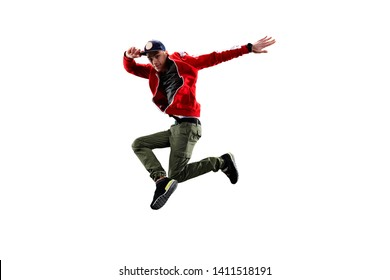 Isolated male Hip Hop Dancer. Beautiful guy dancing on white background