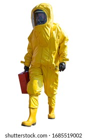 Isolated man with briefcase in protective hazmat suit. Epidemic virus.