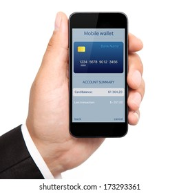 isolated man hand holding the phone with mobile wallet onlain shopping on the screen
