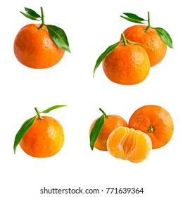 Isolated mandarins or tangerine. Collection of fresh mandarins with leaf isolated on white