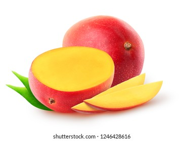 Isolated mango fruits. Whole mango fruit, half and slices with leaves isolated on white background with clipping path