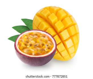 Isolated mango with lpassion fruit maracuya on white background. Clipping path included.