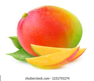 Isolated mango. One whole mango fruit with leaves isolated on white background with clipping path