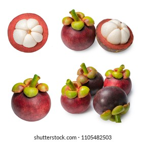 Isolated mangosteens. Mangosteens isolated on white background, Mangosteens the Queen of fruits.