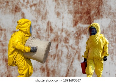 Isolated mans in protective hazmat suit.Epidemic virus.