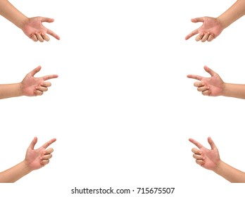 isolated many hand holding.