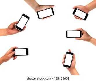 isolated many mand holding Smartphone