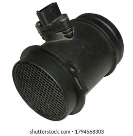 An isolated Mass Air Flow sensor as removed from a car on a white background