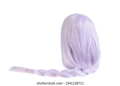 isolated mauve colored wig with a ponytail