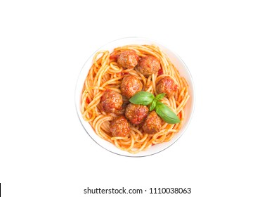 Isolated meatballs spaghetti. Top view of traditional dish spaghetti with meatballs, tomato sauce and fresh basil in white bowl, isolated on white background with clipping path