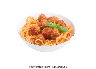 Isolated meatballs spaghetti. Traditional dish spaghetti with meatballs, tomato sauce and fresh basil in white bowl, isolated on white background with clipping path