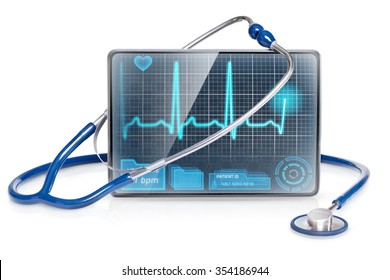 Isolated medical tablet with ECG on screen