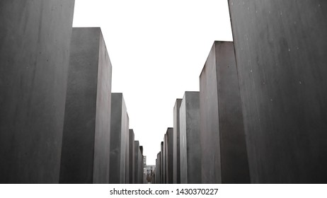 Isolated Memorial to the Murdered Jews of Europe (Holocaust Memorial), a memorial in Berlin to the Jewish victims during World War II. . White background. GERMANY, BERLIN, April 12, 2019