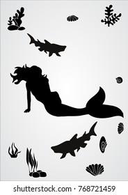 isolated, mermaid swims