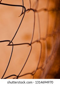 Isolated metallic wires of a protection fence unique photo