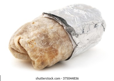 Isolated mexican burrito on a white background.