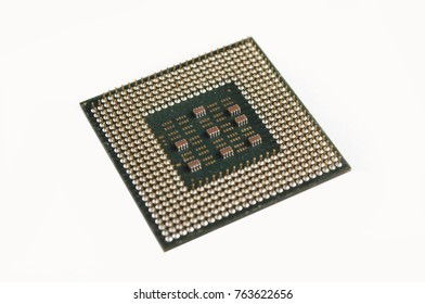 Isolated micro processors or chips on white surface