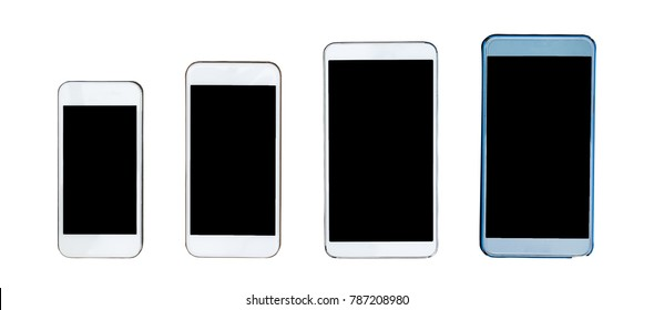 isolated mobile phone, four difference smartphone size, type and color, blank black screen