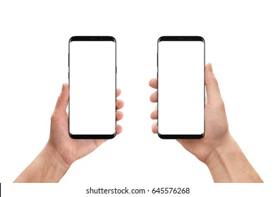 Isolated mobile phones in woman and man hand. Isolated white, blank screen for mockup, app presentation. White background.