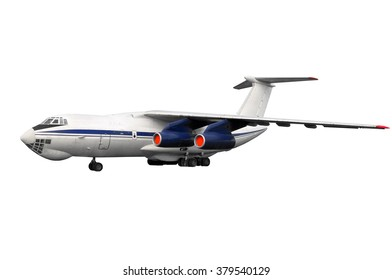 isolated  model on white background of old time vintage russian soviet heavy duty airplane or cargo jet for local low cost airline or airway without any trademarks and logos