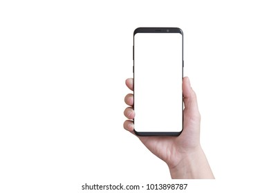 Isolated modern smart phone with round edges in woman hand.