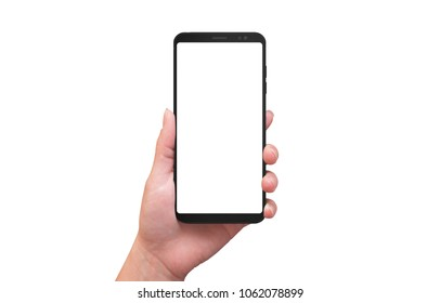 Isolated modern smart phone in woman hand. Blank screen for mockup, app or web design presentation.
